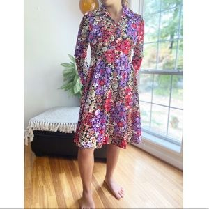 Vintage 70's Floral Disco Collar Long Sleeve Dress